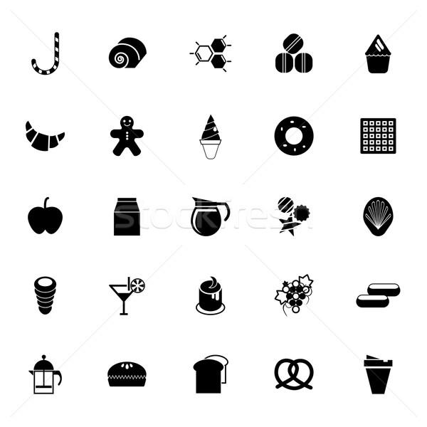 сладкие блюда иконки белый складе вектора продовольствие Сток-фото © nalinratphi