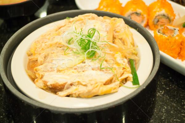Japoński wieprzowina kotlet ryżu czas Zdjęcia stock © nalinratphi