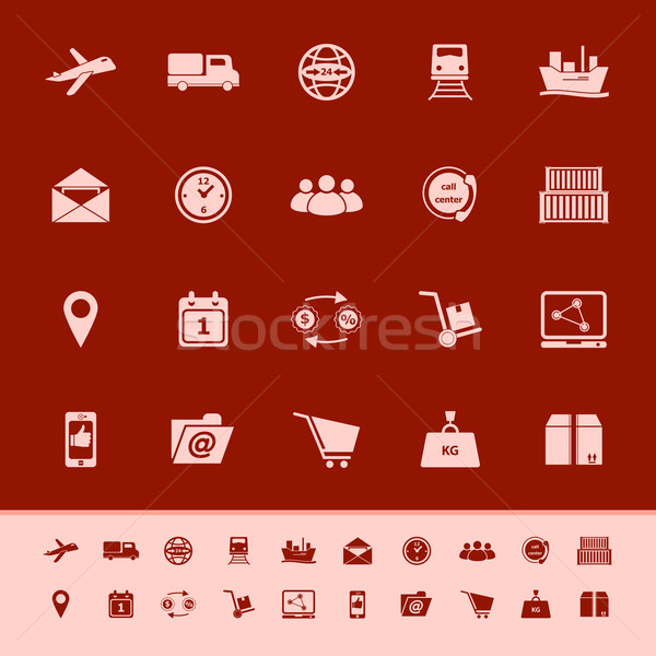 Logistic color icons on red background Stock photo © nalinratphi