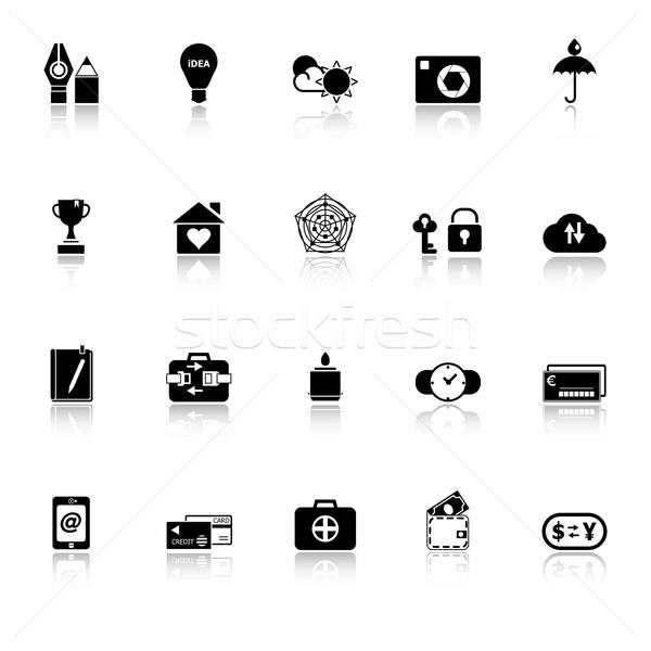Insurance sign icons with reflect on white background Stock photo © nalinratphi