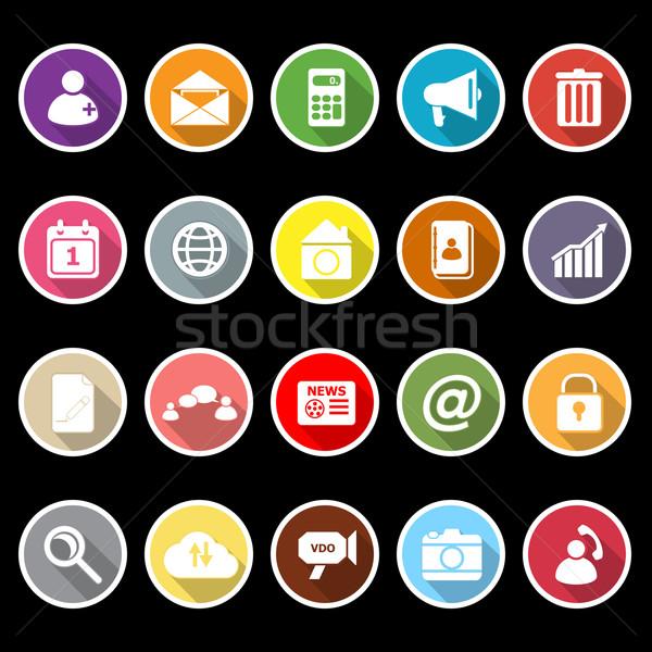 Mobiele telefoon iconen lang schaduw voorraad vector Stockfoto © nalinratphi