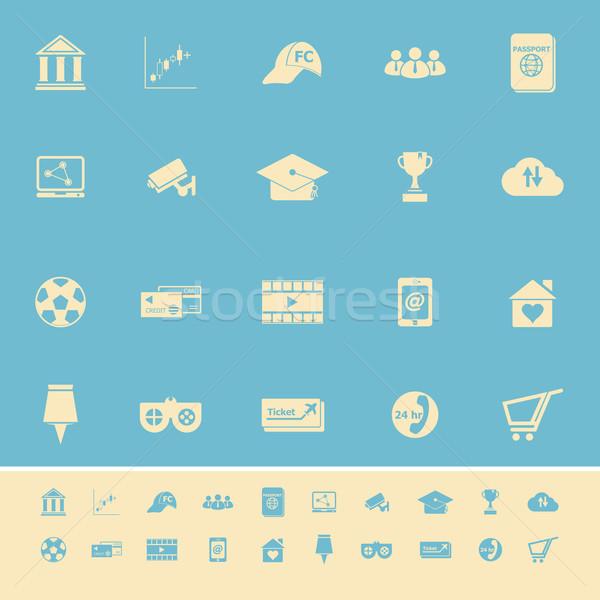 Geral on-line cor ícones luz azul estoque Foto stock © nalinratphi