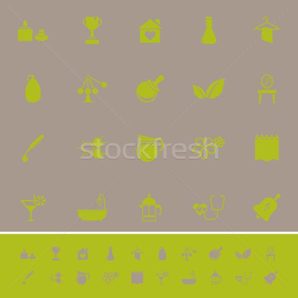 Trattamento termale colore icone grigio stock vettore Foto d'archivio © nalinratphi