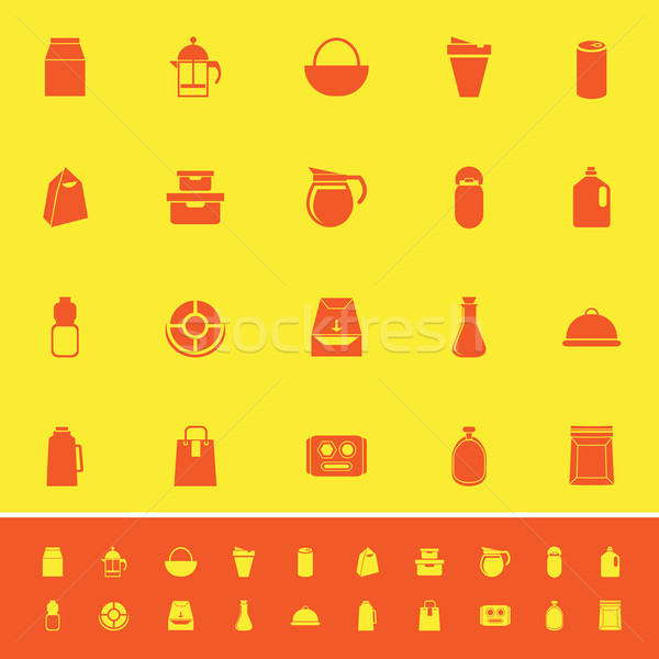 Variety food package color icons on yellow background Stock photo © nalinratphi