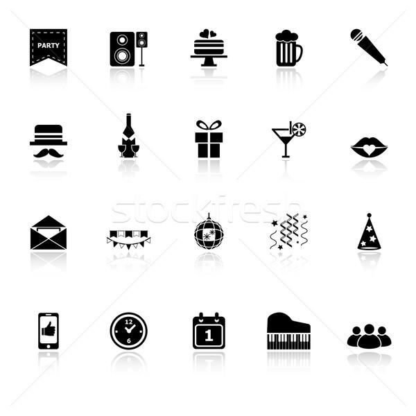 ünneplés ikonok fehér stock vektor buli Stock fotó © nalinratphi