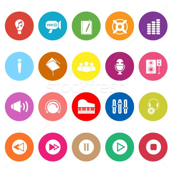 Music flat icons on white background Stock photo © nalinratphi