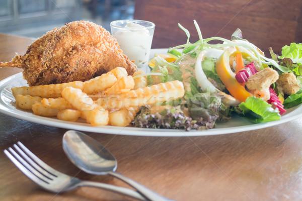 Deep fried chicken meat with organic salad Stock photo © nalinratphi