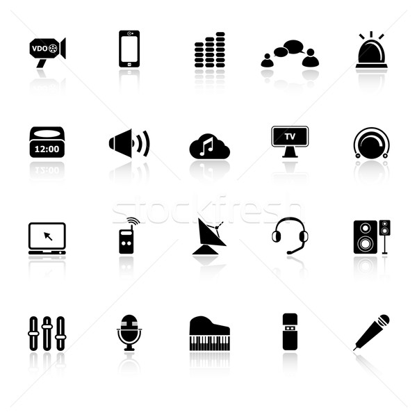 Sonores icônes blanche stock vecteur musique Photo stock © nalinratphi