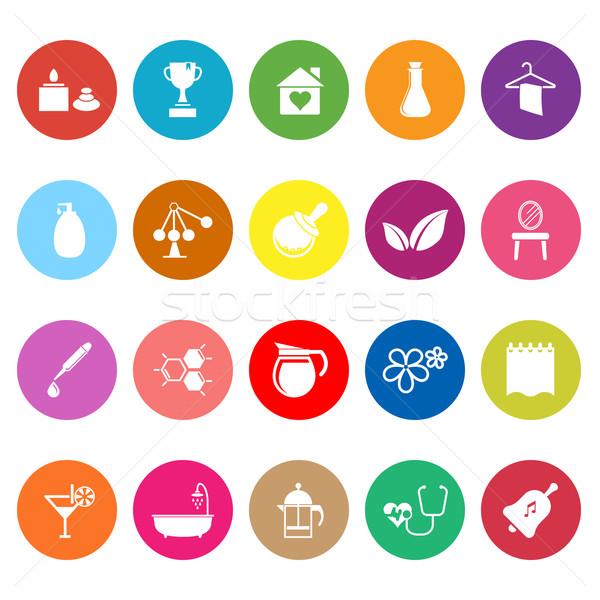 Spa-behandeling iconen witte voorraad vector bloem Stockfoto © nalinratphi
