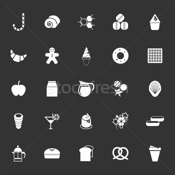 сладкие блюда иконки серый белый складе вектора Сток-фото © nalinratphi