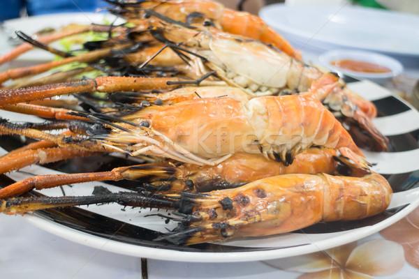 Grillezett garnélák szervírozó tál stock fotó étel Stock fotó © nalinratphi