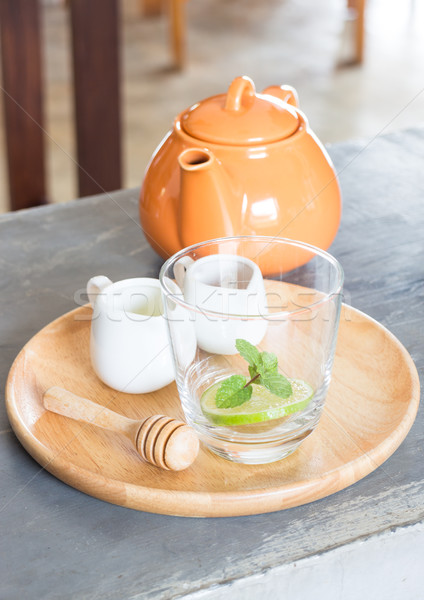Hot pot of honey lime healthy drink Stock photo © nalinratphi