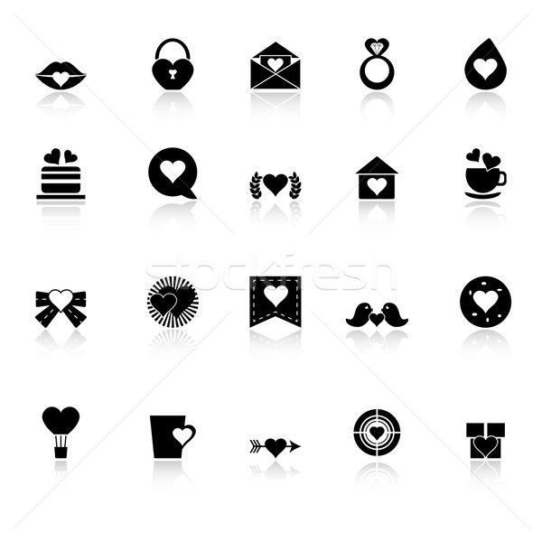 Heart element icons with reflect on white background Stock photo © nalinratphi