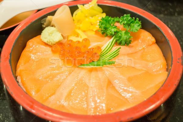 Japonês arroz caixa salmão sashimi estoque Foto stock © nalinratphi