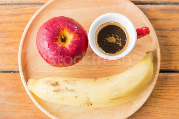 Fresh red apple, banana and coffee Stock photo © nalinratphi