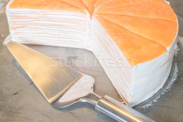 Laranja chantilly crepe bolo estoque foto Foto stock © nalinratphi
