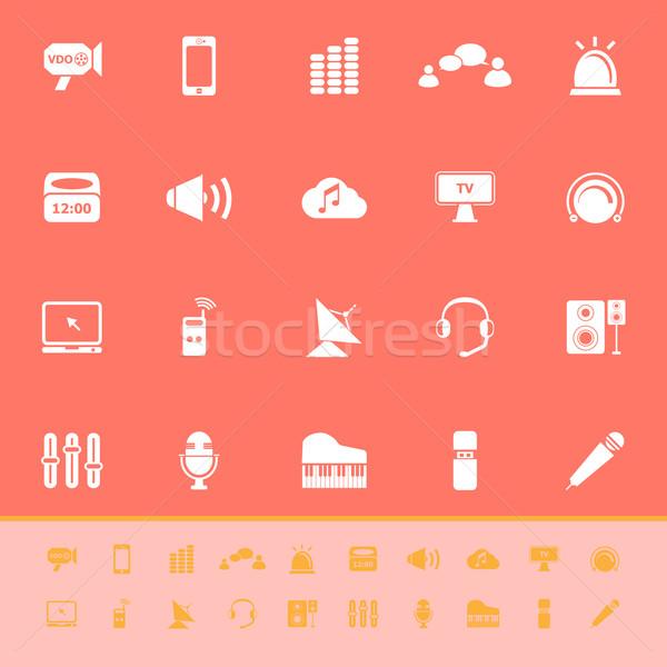 Sonido color iconos naranja stock vector Foto stock © nalinratphi
