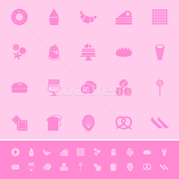Variety bakery color icons on pink background Stock photo © nalinratphi
