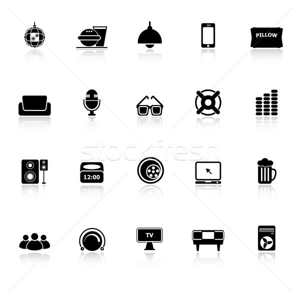 Home theater icons with reflect on white background Stock photo © nalinratphi