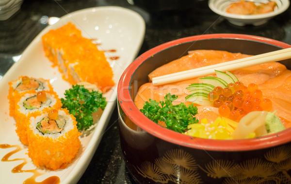Japanese salmon sashimi and sushi roll Stock photo © nalinratphi