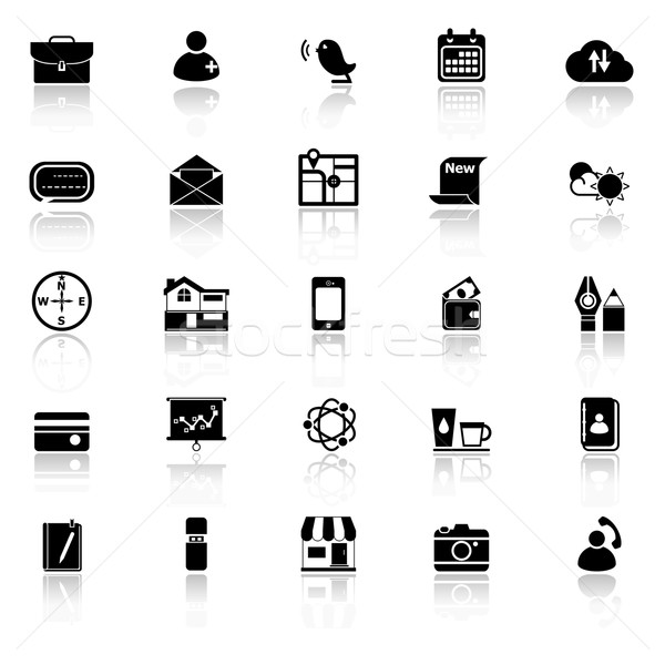 Mobile icons with reflect on white background Stock photo © nalinratphi
