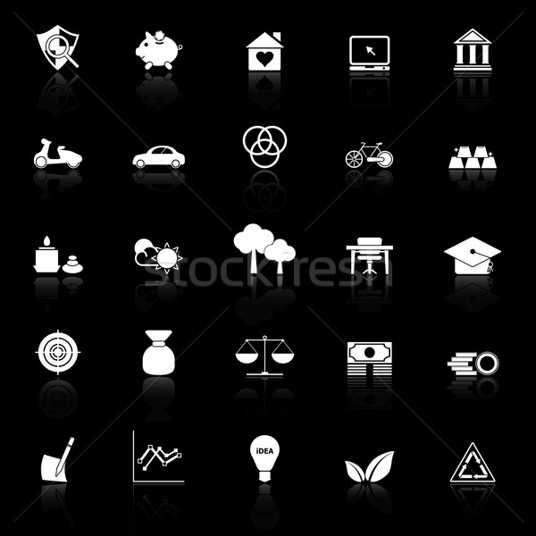 Sufficient economy icons with reflect on black background Stock photo © nalinratphi