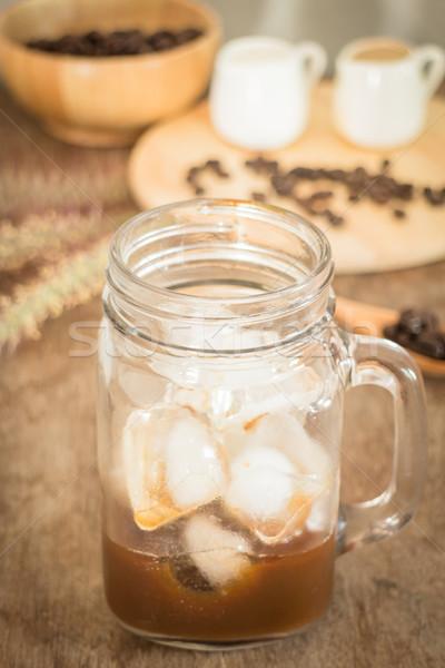 Preparing glass of cold coffee Stock photo © nalinratphi