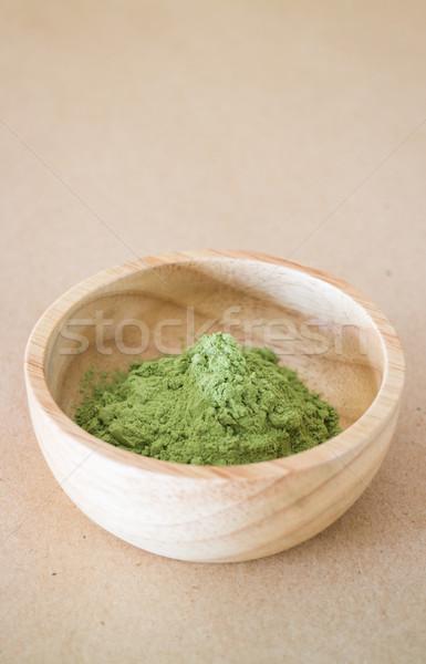 Premie groene thee poeder houten kom voorraad Stockfoto © nalinratphi