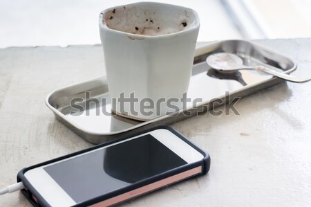 Creative work table with notepaper and mobile phone Stock photo © nalinratphi