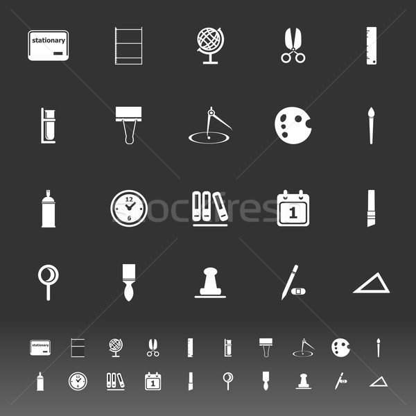 General stationary icons on gray background Stock photo © nalinratphi