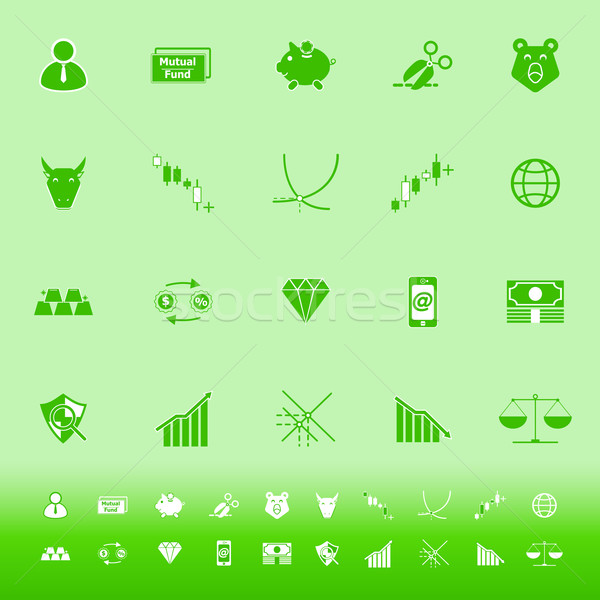 Stock market color icons on green background Stock photo © nalinratphi