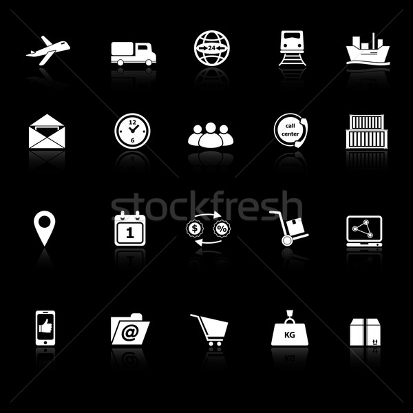 Logistic icons with reflect on black background Stock photo © nalinratphi