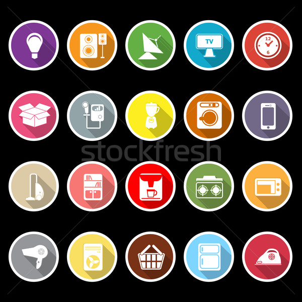 Home related icons with long shadow Stock photo © nalinratphi