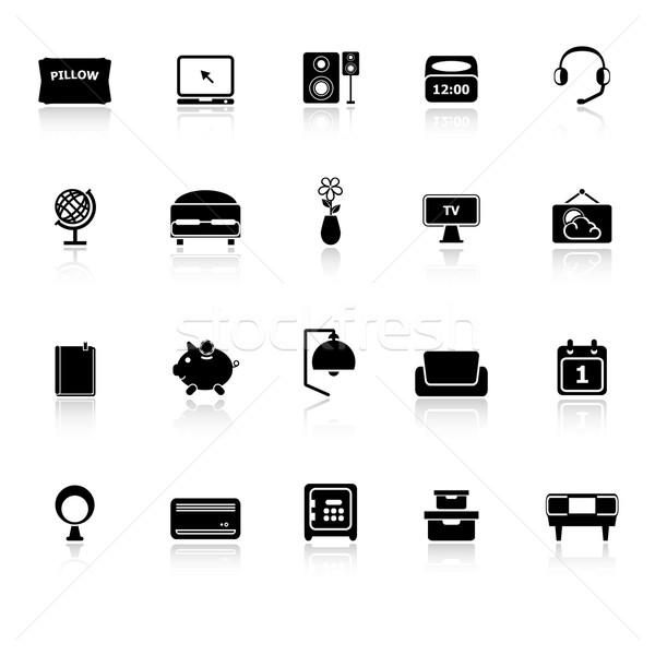 Bedroom icons with reflect on white background Stock photo © nalinratphi