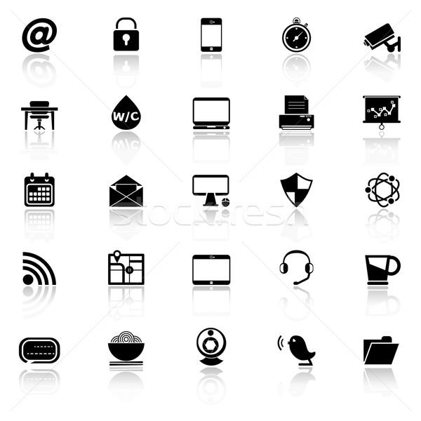 Internet cafe icons with reflect on white background Stock photo © nalinratphi