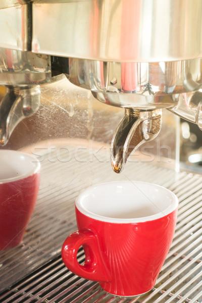 Friss főzet forró kávé eszpresszó gép Stock fotó © nalinratphi