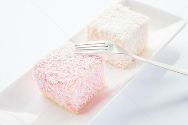 Stockfoto: Spons · gebak · vork · voorraad · foto · voedsel