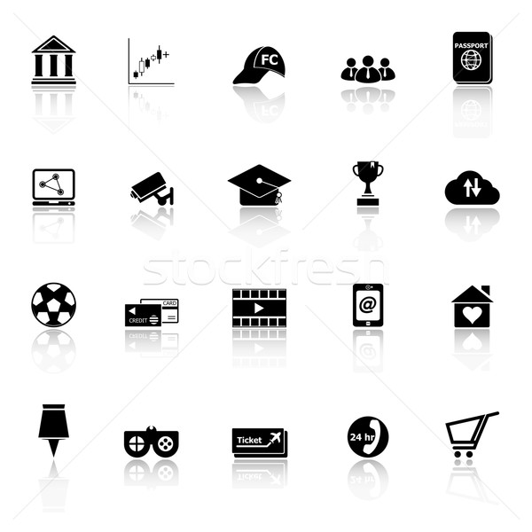 General online icons with reflect on white background Stock photo © nalinratphi