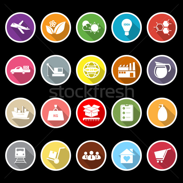 Supply chain and logistic flat icons with long shadow Stock photo © nalinratphi