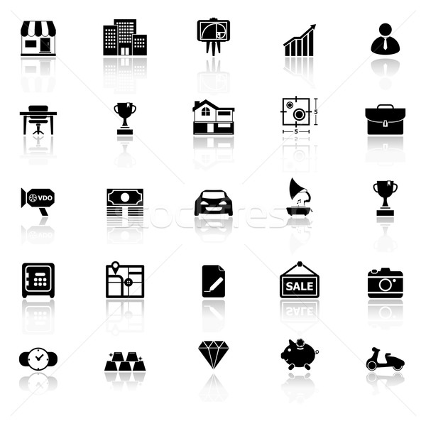 Asset and property icons with reflect on white background Stock photo © nalinratphi