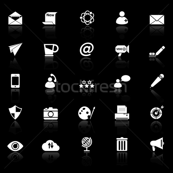 Message and email icons with reflect on black background Stock photo © nalinratphi