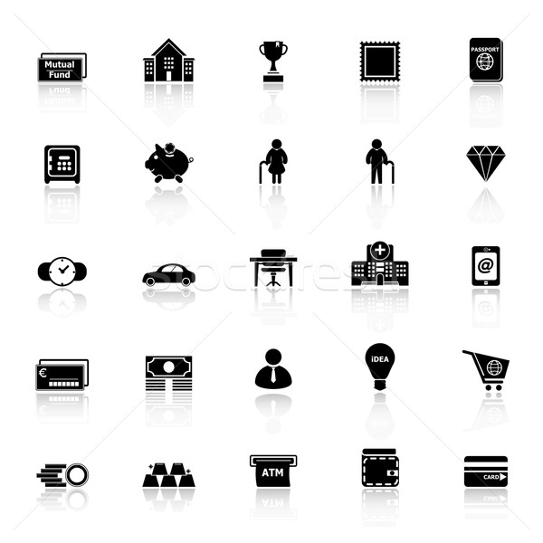 Personal financial icons with reflect on white background Stock photo © nalinratphi