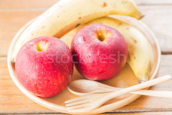 Fresh red gala apples and banana Stock photo © nalinratphi