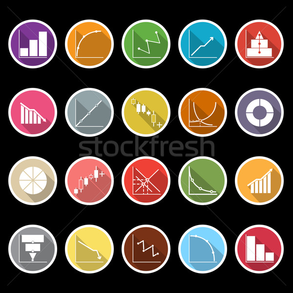 Stock photo: Diagram and graph icons with long shadow