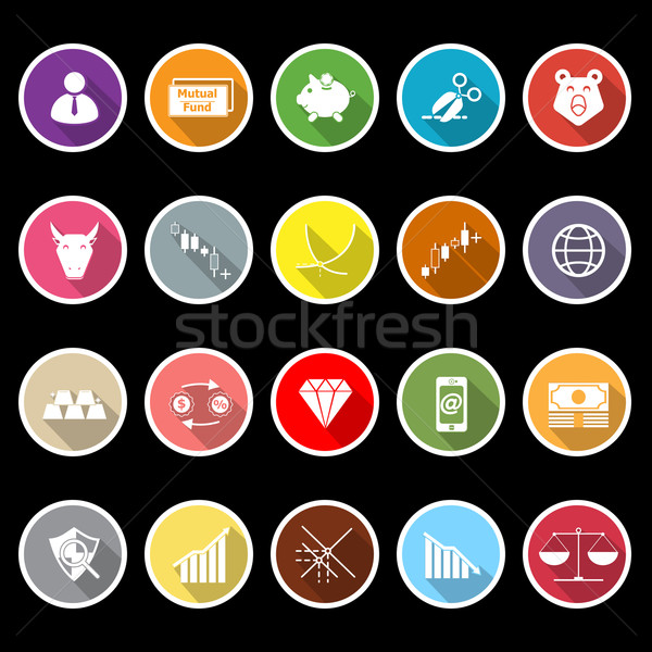 Stock market icons with long shadow Stock photo © nalinratphi