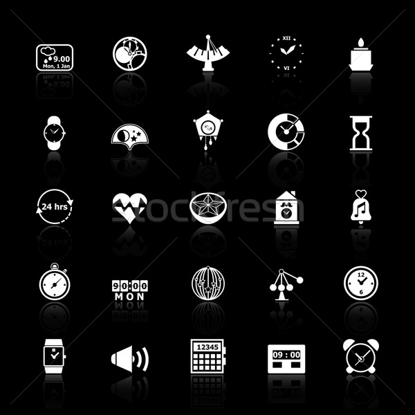 Design time icons with reflect on black background Stock photo © nalinratphi