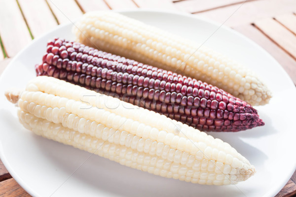 Organic whole grain with boiled corn cobs Stock photo © nalinratphi