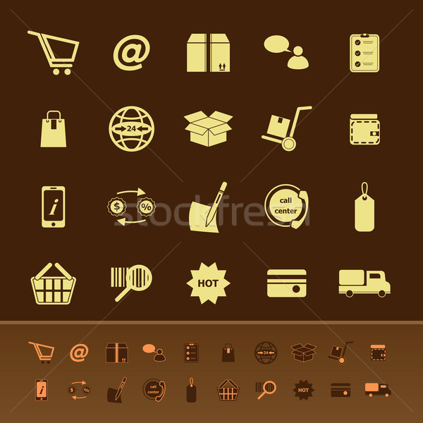 Ecommerce color icons on brown background Stock photo © nalinratphi