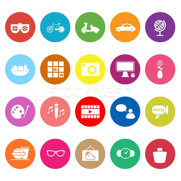 Favorite and like flat icons on white background Stock photo © nalinratphi