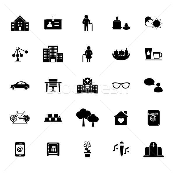 Comunidad iconos blanco stock vector Foto stock © nalinratphi